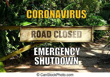 緊急事態, coronavirus, 背景, 閉鎖, 道, シャットダウン