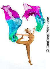 緊身衣, 織品, 婦女, 鮮艷, 跳舞, 体操運動員, 飛行, 被隔离, 跳舞, 體操, 背景, 白色, 雜技演員, 有氧運動