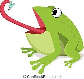 緑のカエル, 食べなさい, 昆虫, 白, 漫画, ベクトル