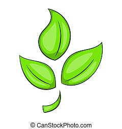 緑のプラント, eco, シンボル, アイコン, 漫画, スタイル