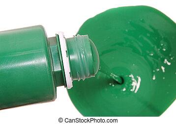 緑のペンキ, たたきつける, 中に, バケツ