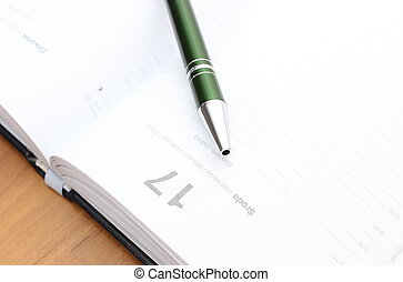 緑のペン, クローズアップ, カレンダー