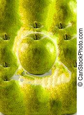 緑のリンゴ, マクロ, 中に, 選択的な 焦点