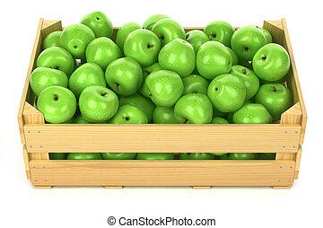 緑のリンゴ, 中に, ∥, 木製の木枠