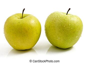 緑のリンゴ, 隔離された, 上に, 白