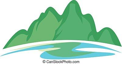 緑の丘, と青, 川