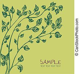 緑の木, カード, テンプレート
