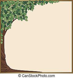 緑の木, スタイル, art-nouveau, フレーム