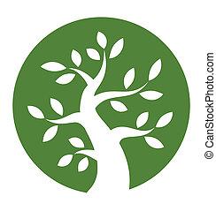 緑の木, ラウンド, アイコン
