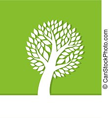 緑の白, 木, 背景