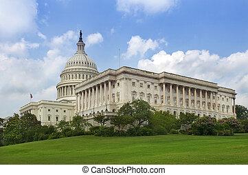 緑の芝生, の後ろ, 国会議事堂, 建物, ワシントン