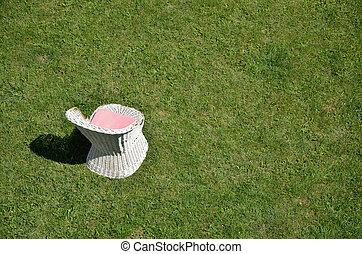 緑の芝生, 古い, 椅子