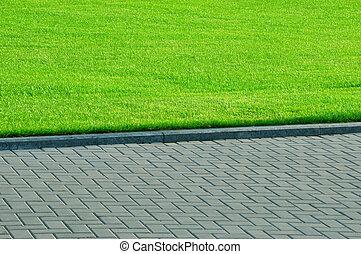 緑の草, そして, 歩行者, walkway.