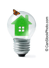 緑の草, 家, 中に, 電球, そして, 蝶, コラージュ