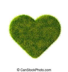 緑の草, heart., 隔離された, 上に, white.