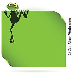 緑の葉, カエル