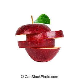 緑の葉, 背景, 隔離された, アップル, ラウンド, 切口, に薄く切る, 白い赤