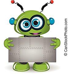 緑の金属, ロボット, 背景