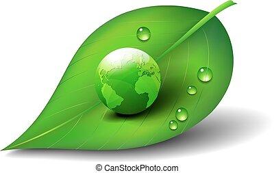 緑地球, 上に, 葉, アイコン, シンボル