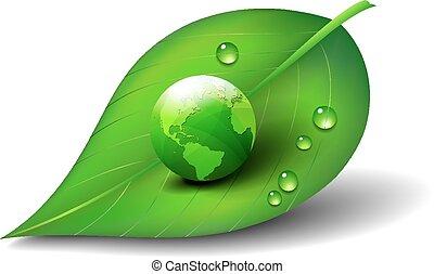 緑地球, 世界, 上に, 葉, アイコン