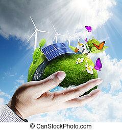 緑地球, 中に, 手, 概念