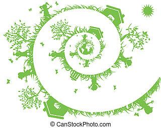 緑, らせん状に動きなさい