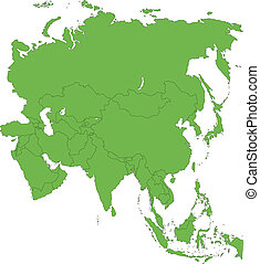 緑, アジア, 地図