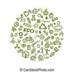 緑, エコロジー, デザイン, あなたの, 背景