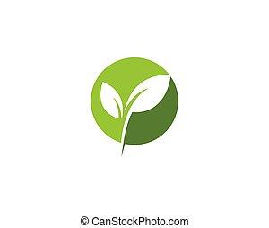 緑, エコロジー, ベクトル, 葉, ロゴ