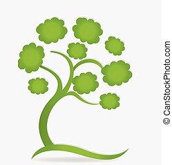 緑, エコロジー, 木, 家族, ロゴ