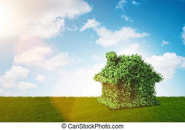 緑, エネルギー, 家, 概念, -, 3d, レンダリング