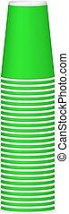 緑, カップ, デザイン, 山