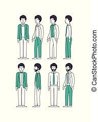 緑, グループ, ビジネスマン, 衣服