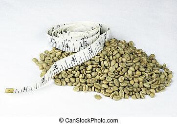 緑, コーヒー, テープ, 豆, 測定