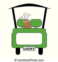 緑, ゴルフ, 幸運, カート