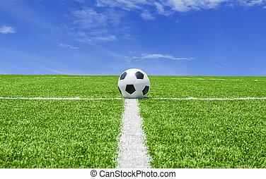 緑, サッカーフットボール, 空