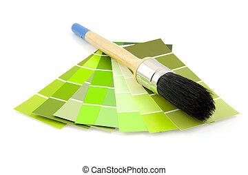 緑, サンプルに色を塗りなさい, そして, ペンキ ブラシ