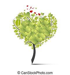 緑, シンボル, 飛行, 木, 心