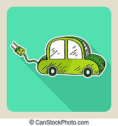 緑, スケッチ, 車。, スタイル, 電気である