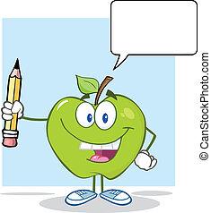 緑, スピーチ, アップル, 泡