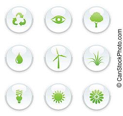 緑, セット, エコロジー, アイコン