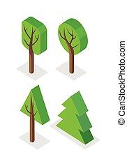 緑, セット, 木, アイコン