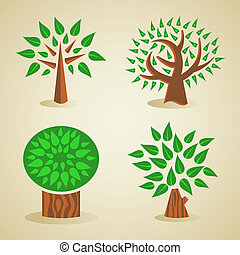 緑, セット, 木, カラフルである