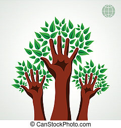 緑, セット, 木, 手