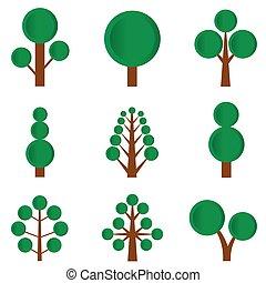 緑, セット, 木