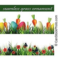 緑, セット, 草, seamless