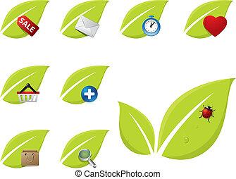 緑, セット, 葉, アイコン