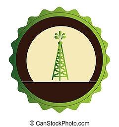 緑, タワー, オイル, 紋章, 円