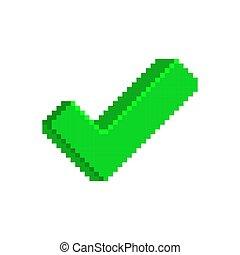 緑, チェックマーク, アイコン, 中に, pixelated, style.