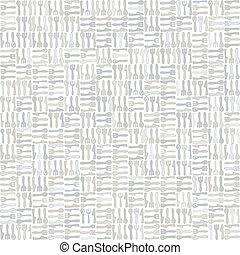 緑, テーブルウェア, decor., 手, cutlery, 引かれる, seamless, かわいい, モザイク, 銀器, すべて, print., ナイフ, 上に, pattern., 家, 道具, フォーク, vecotr, 灰色, 台所, 国内, モノクローム, バックグラウンド。, 線, スプーン, 芸術